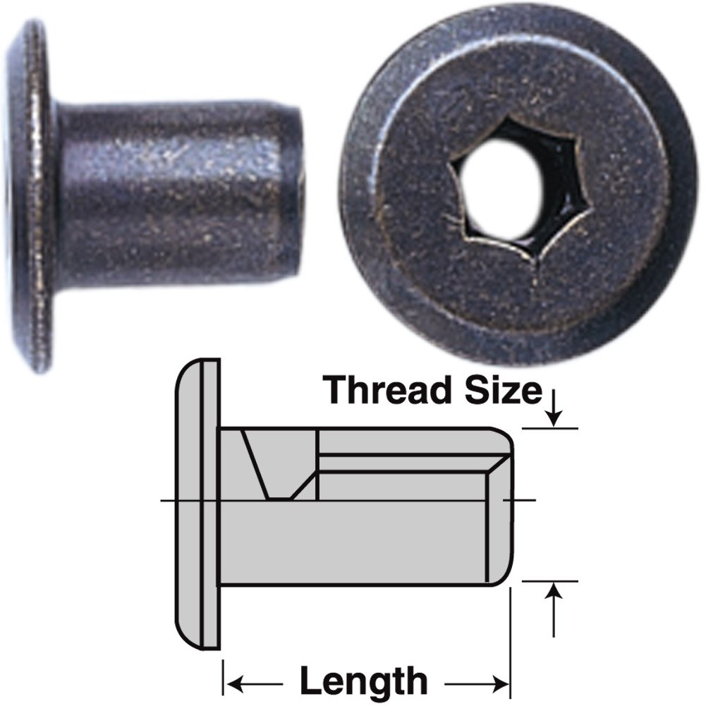 Platte River 812620, 50-pack, Fasteners, Knock Down (kd), 1/4-20x12mm Steel Connector Nut-Bronze