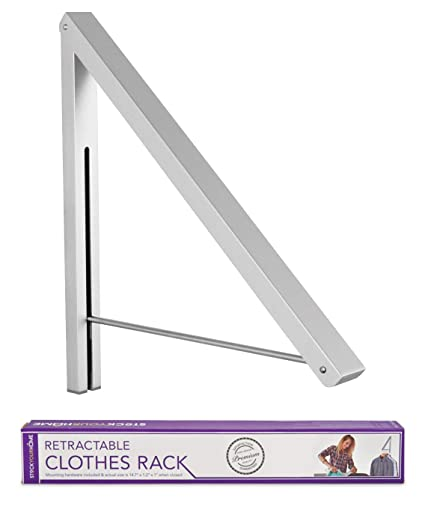 Bon Stock Your Home Folding Clothes Hanger Wall Mounted Retractable Clothes  Drying Rack Laundry Room Closet Storage