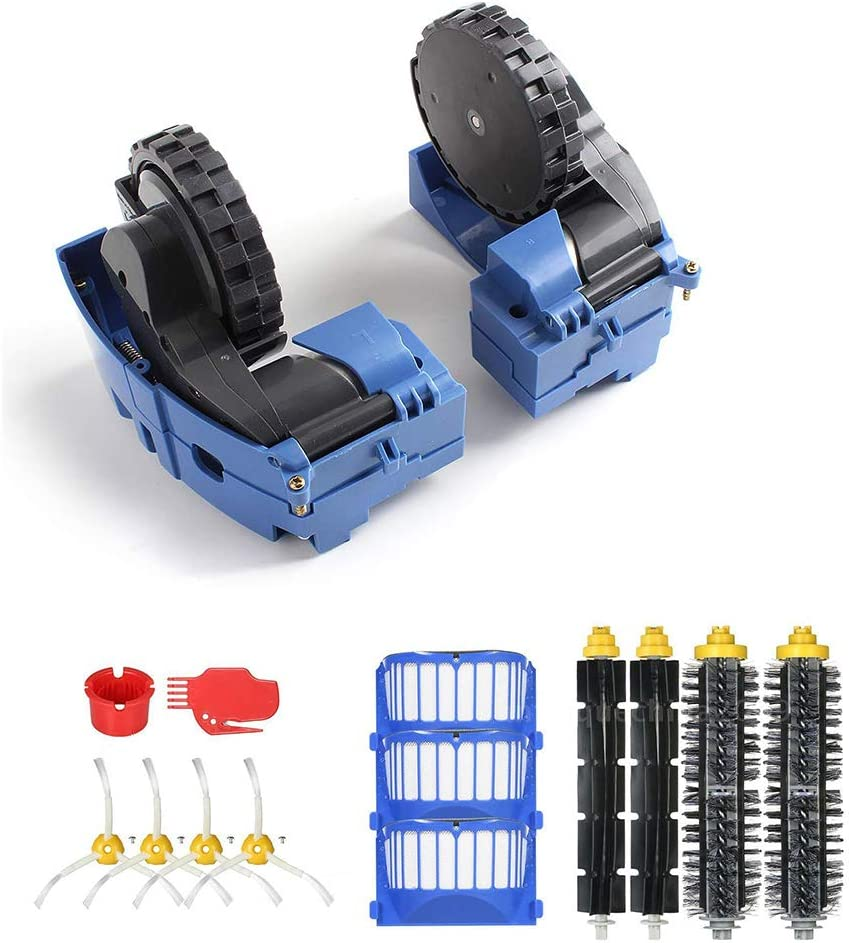 Roomba Drive Wheel Module Bristle Brush 2 Flexible Beater Brush 4 Side Brush 3 Filter 2 Cleaning Tool Accessories Kits for iRobot Roomba 600 Series 690 691 694 650 651 664 615 601 630