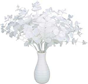 Greentime 2 Pack White Artificial Eucalyptus Leaves Bouquet with 20 Branches Fake 18.5 Inches Silver Dollar Eucalyptus Stems for Wedding Table Centerpiece DIY Flower Arrangements Vase Decor