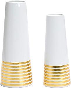 Uhitmi Ceramic Vase, Vases for Flowers Modern Farmhouse Decorative Table Centerpieces Decor, White and Gold, Set of 2