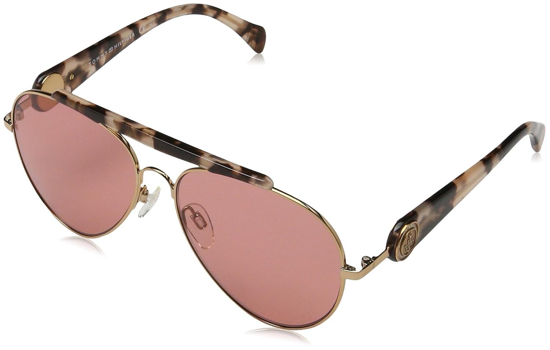 b1ac2035c Tommy Hilfiger Gigi Aviator Sunglasses, Gold Havana Pink/Red, 58 mm:  Amazon.com.au: Fashion