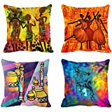 4pc -meSleep Abstract Digitally Printed Cushion Cover (16x16)