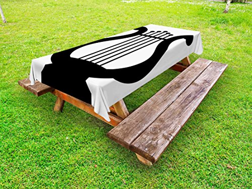 Lunarable Lyre Outdoor Tablecloth, Greek Classical Antique Harp Ancient Mesopotamia Culture Art Icon Forms Illustration, Decorative Washable Picnic Table Cloth, 58 X 104 inches, Black White by Lunarable