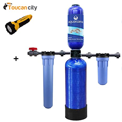 Toucan City Linterna LED y Aquasana Rhino Serie 4 Etapa 600.000 Gal. Whole House THD