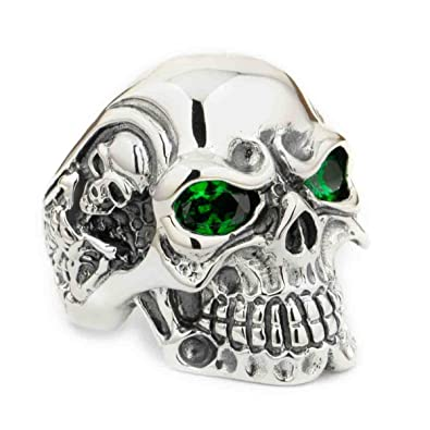 e0954f71f9a38 LINSION 925 Sterling Silver Skull Ring Engagement Green CZ Eyes Mens ...