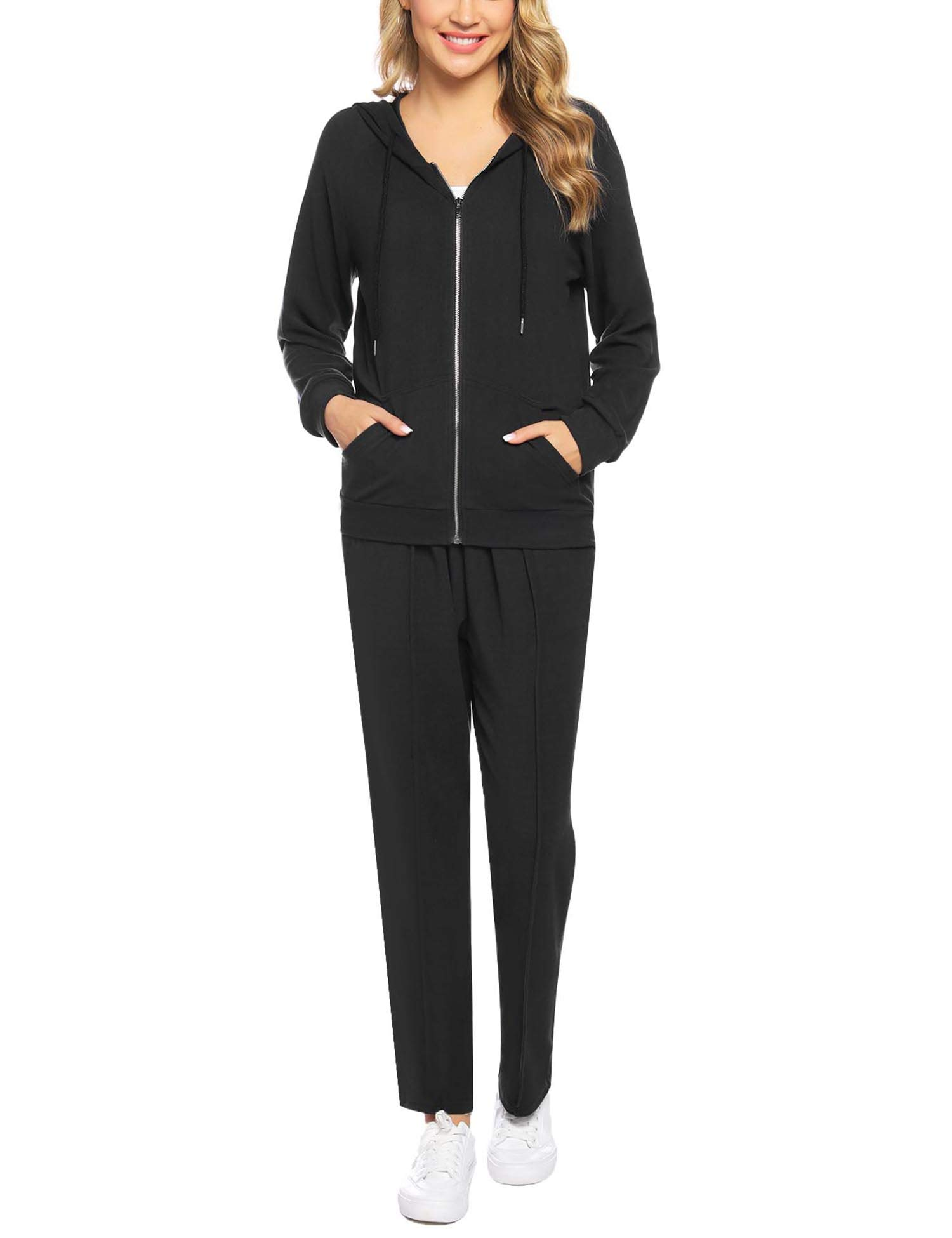 Abollria Women's 2 Piece Outfits Velvet Zip Hoodie Sweatshirt & Sweatpants Sweatsuits and Velour Tracksuit Sets Jogging Suit Black by Abollria