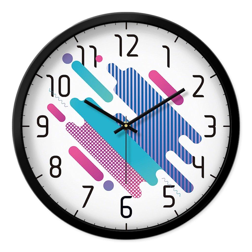 掛け時計 ウォールクロックファッションリビングルームクリエイティブ時計ベッドルームミュート現代時計大きなクォーツ時計ホームインテリアウォールクロック Rollsnownow (色 : ブラック, サイズ さいず : 12インチ) B07BJZKKJ7 12インチ|ブラック ブラック 12インチ
