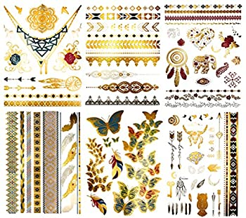 Premium Color Metallic Tattoos - 75+ Henna, Boho Yoga Temporary Shimmer Jewelry Tattoos - Designs in Gold, Silver, Pink, Turquoise, Green (Kendra Collection)