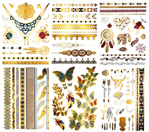 Boho Color Metallic Temporary Tattoos - Over 75 Gold Silver Bright Colored Designs (6 Sheets) Terra Tattoos Kendra Collection ()