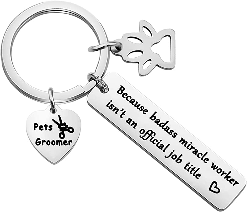 WSNANG Dog Groomer Gift Youre an Awesome Dog Groomer Keep That Shit Up Keychain Pet Groomer Gift Thank You Gift for Dog Groomer Dog Hairdresser
