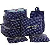 HiDay 7 Set Waterproof Packing Cube - 3 Travel Cubes + 3 Pouches + 1 Shoe Bag