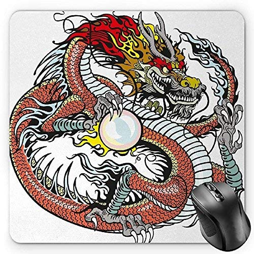 Dragon Mouse Pad, Traditional Chinese Creature Holding A
