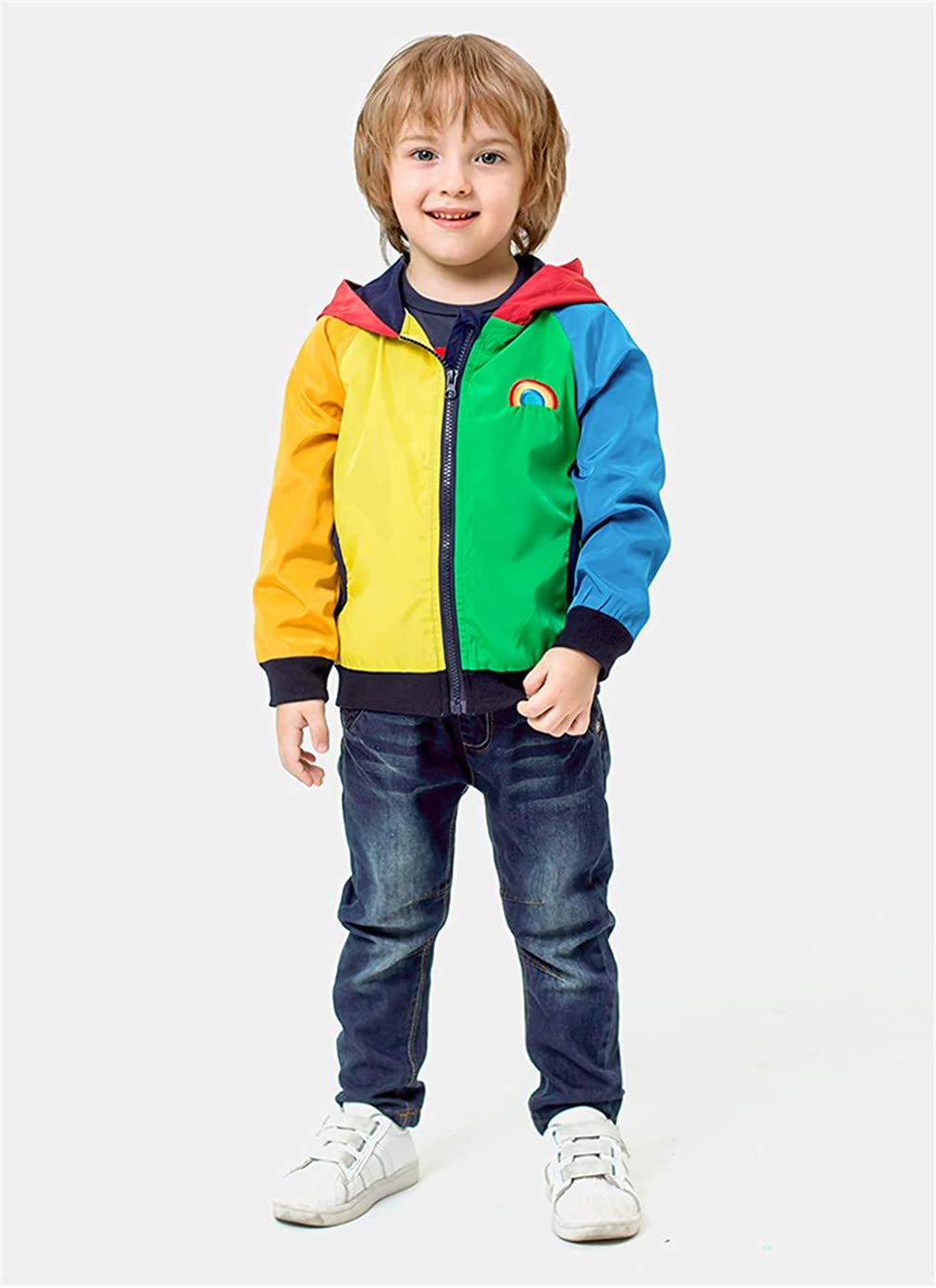 Mud Kingdom Boy Zip Up Hoodie Sweatshirt with Hood Rainbow Patchwork
