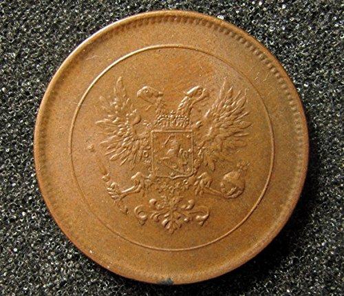 Antique 1917 Finland coin 5 Pennia under Emperor Nicolas II of Russian Empire and Grand Duchy of Finland. (Collection Grand Bronze)