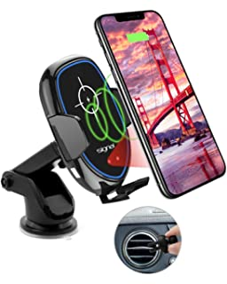 5W for Qi-Enabled Devices,Black Car Fast Charger Stand Outlet Clamp with Retractable Suction Cup and Fan,7.5W for iPhone XS//XS Max//XR MoKo Infrared Wireless Car Charger 10W for Galaxy S10//S10+//S10e