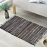 ANJUREN Multifunction Reversible Durable Color Stripe Area Rugs Rags Hand Woven Washable Runner Rug Carpet Mat Pad For Kitchen Bathroom Door Bedroom Apartment Sofa Window Bed Pet (23.6''x35.4'', Coffee)