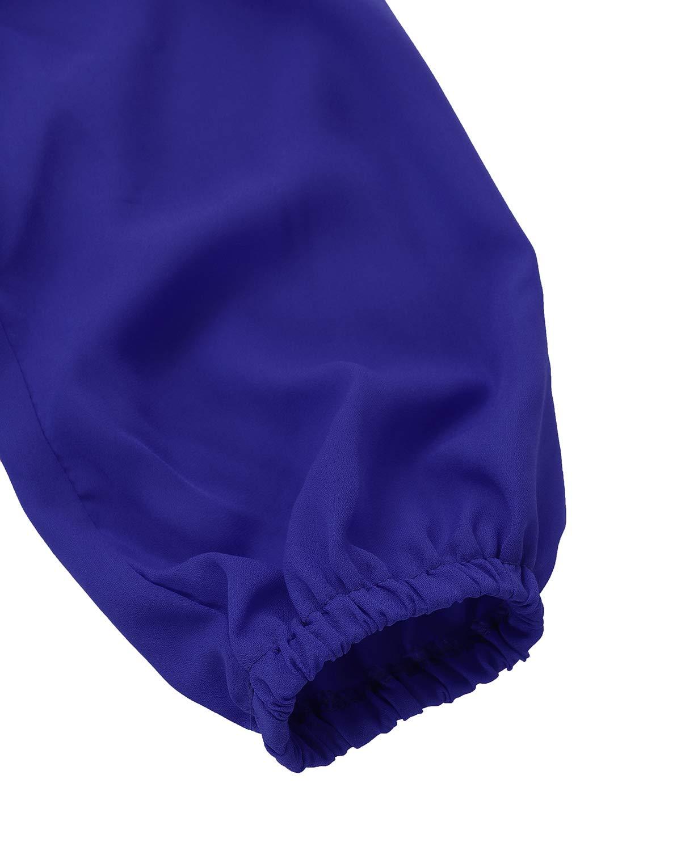 Auxo kvinnor axeltoppar volangad volang chiffongskjorta v-hals långärmad enfärgad ledig lös blus BLÅ