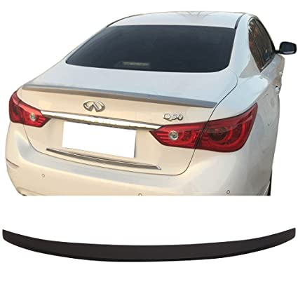 Trunk Spoiler Fits 2014 2018 Infiniti Q50 | OE Style Matte Black ABS Car  Exterior