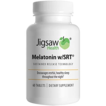 Jigsaw Health Melatonin w/SRT: Slow Release Melatonin Supplement 3 mg. Time Release