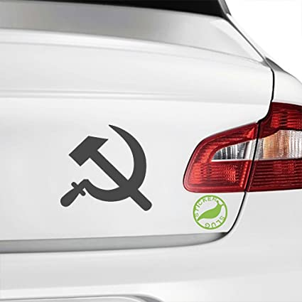 Communist Hammer and Sickle Decal Sticker (charcoal grey, 5 inch)