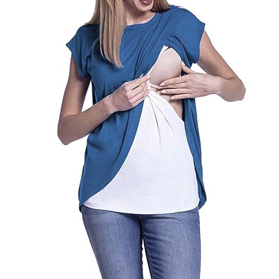 Blusas para Mujer Rawdah Mangas Doble Capa Blusa Camiseta Camisetas De Maternidad Gorra De Lactancia Maternity