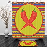Vipsung Shower Curtain And Ground MatMexican Decorations Collection Two Red Peppers Mexican Style Pattern Horizontal Striped Background Image Chartreuse Red BlueShower Curtain Set with Bath Mats Rugs