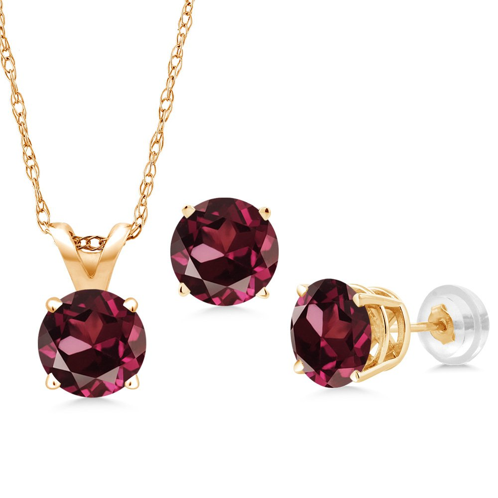 1.80 Ct Red Rhodolite Garnet 14K Yellow Gold Pendant Earrings Set With Chain