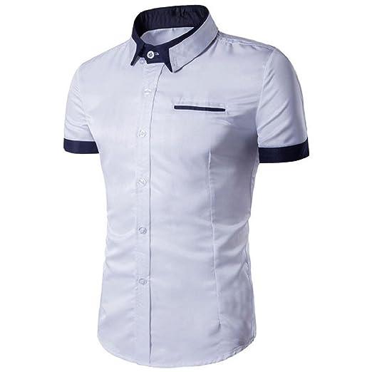 1ffb2d00a4a Men s Summer Polo Shirts T-Shirt Short Sleeve Shirt Slim Fit Formal Shirts  Tops at Amazon Men s Clothing store