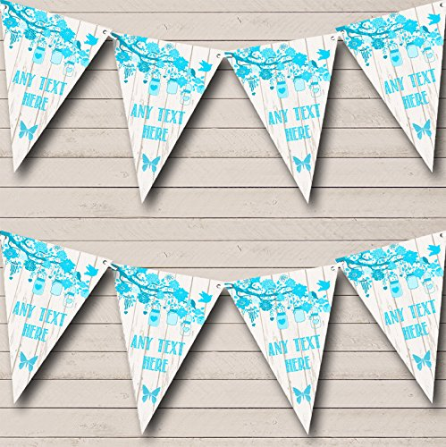 Shabby Chic Vintage Wood Aqua Blue Personalized Christening Bunting Banner by The Card Zoo (Image #1)
