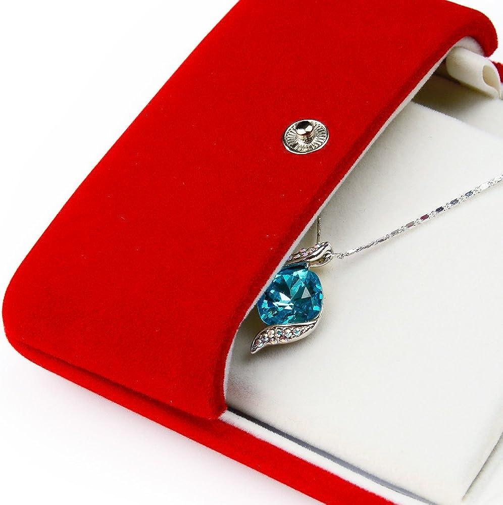 Oirlv Scatole da regalo per gioielli in velluto rosso