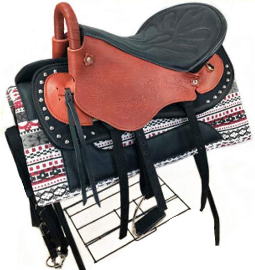 BLCC - Juego completo de sillas de montar de cuero para montar a caballo, completo de piel de vaca, con accesorios de línea, color marrón