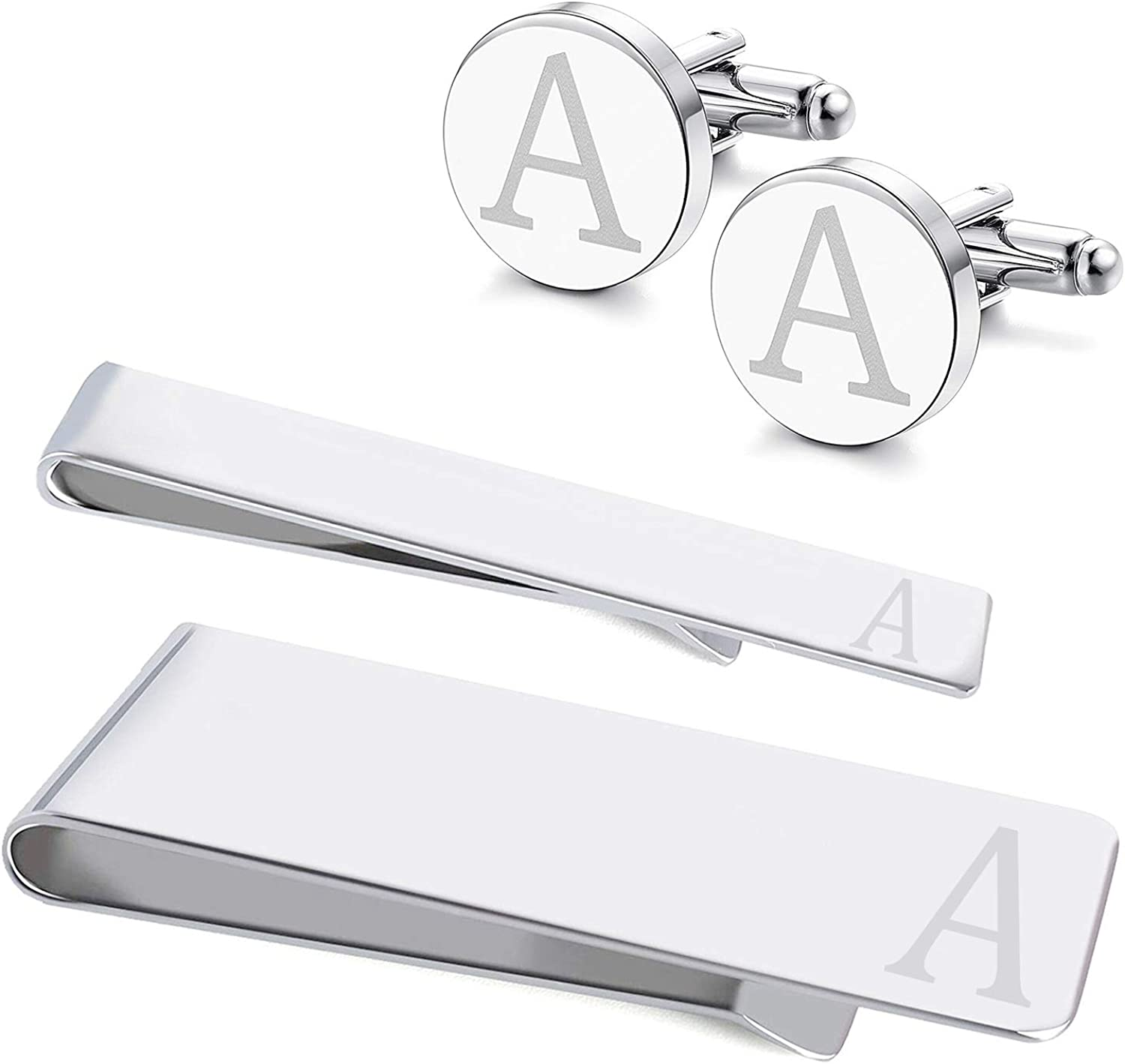 eejart 4PCS A Set Cufflinks Tie Clips Money Clips for Men 316L Stainless Steel Cufflinks Personalized Engraved Initials A/H Business Wedding with Box