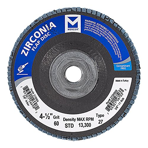 Mercer Industries 272H060 Zirconia Flap Disc, Type 27, 4 1/2