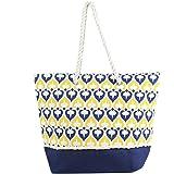 """Medium Spade Print Canvas Beach Bag Tote -18""""x14""""x5"""""""
