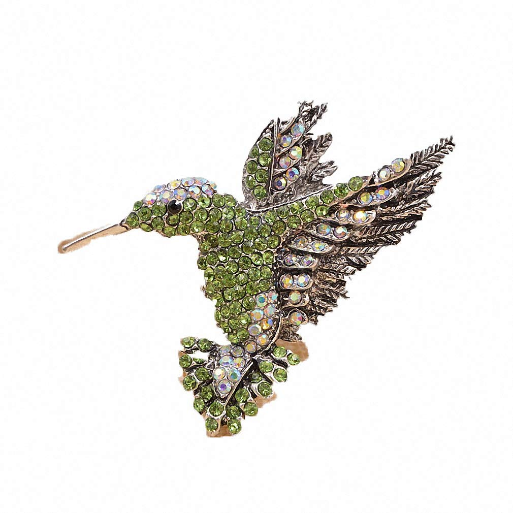 Jana Winkle Colorful Rhinestone Hummingbird Brooch Animal Brooches Women Korea Accessories Green