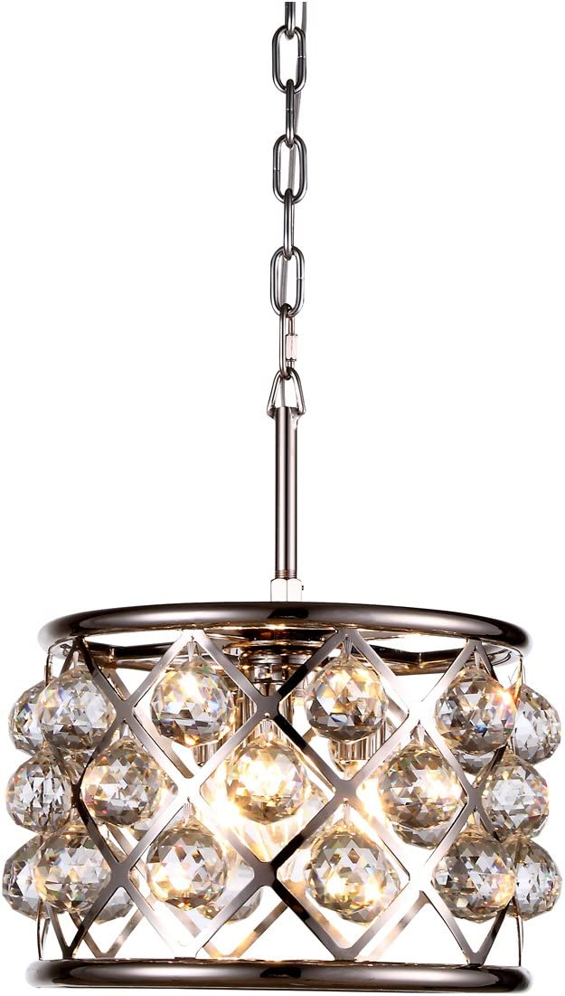Elegant Lighting 1214D12PN RC Madison Collection 3-Light Pendant Lamp with Royal Cut, 12 Depth x 9 Height, Polished Nickel Finish, Crystal
