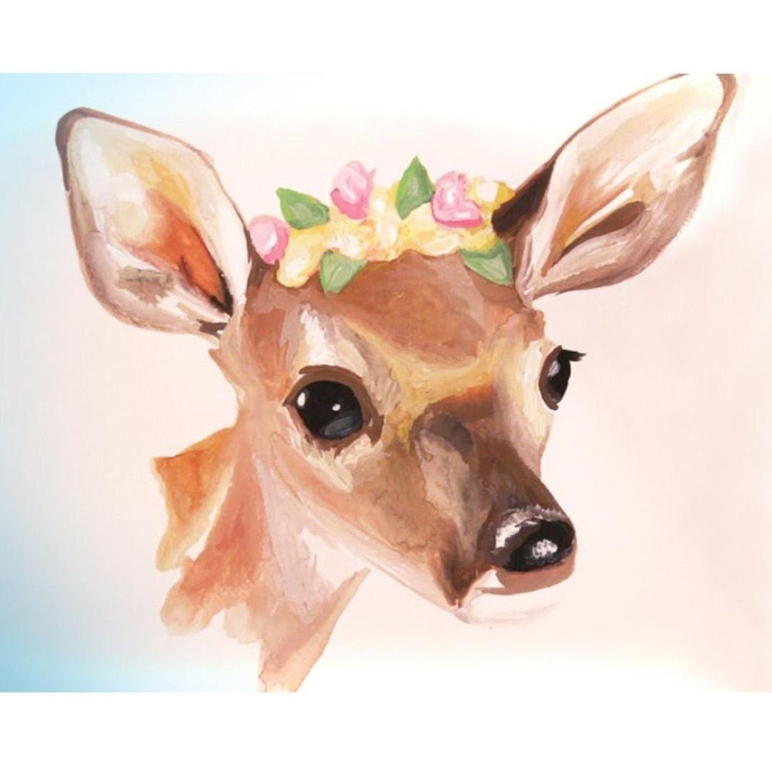 5D Diamond Painting by Number Kits, Crystal Rhinestone Diamond Embroidery Paintings Pictures Arts Craft for Home Wall Decor, Colorful Deer (F)