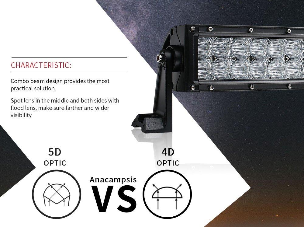 interruttore cablaggio 5D 106,7/cm 400/W Curved LED work Light bar per trattore barca fuoristrada 4/WD 4/x 4/camion SUV ATV Combo