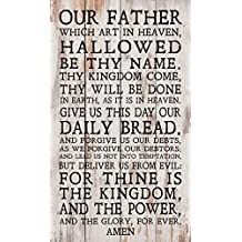 Our Father Lord's Prayer White Wash 14 x 24 Inch Solid Pine Wood Pallet Wall Plaque Sign