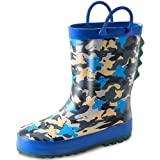 K KomForme Kids Rain Boots for Girls Boys Rubber Printed Rainboots with Handles (Toddler/Little Kid/Big Kid)…
