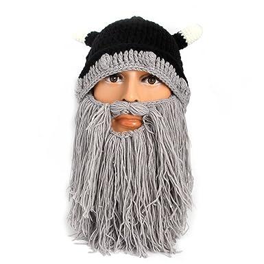 6f5cfe8177b Vikenner Winter Warm Men Children Knitted Woolen Beard Mustache Hat  Handmade Viking Crochet Beanie Hats Cap Funny Party Costumes Accessories -  Gray  ...