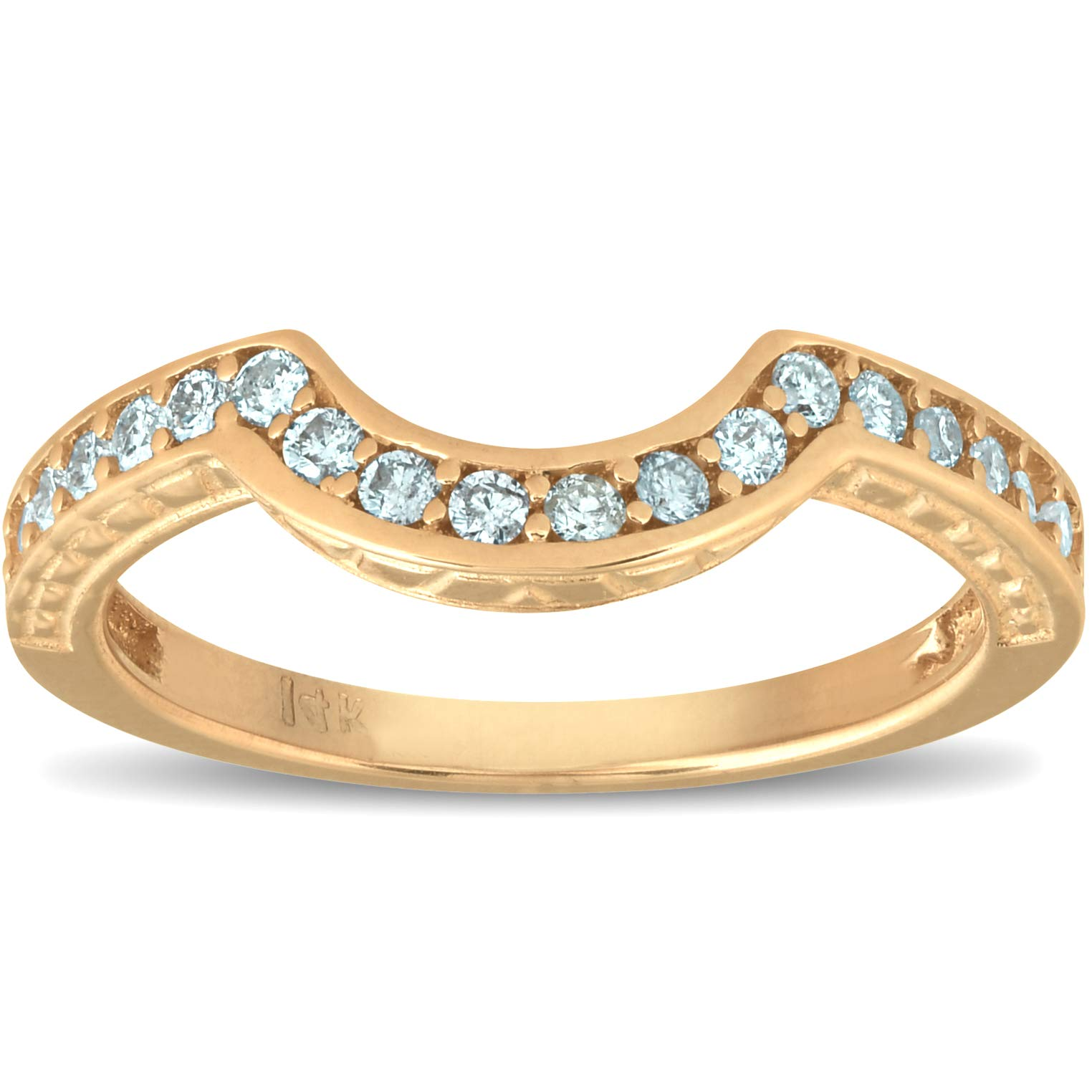 1/4ct Vintage Diamond Curved Guard Ring 14K Rose Gold - Size 8