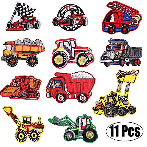 (Kids Car Embroidered Patches-Iron on Patches-Vehicle Embroidery Patches-Assorted DIY Sew on Applique Truck Patches-Cute Patches for Boys Girls-Decorative Patches for Jackets, Backpack, Jeans, Clothes)