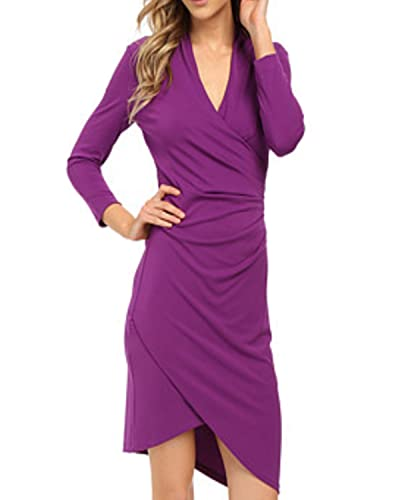 OUGES Womens 3/4 Sleeves Ruched Sheath Faux Wrap Dress