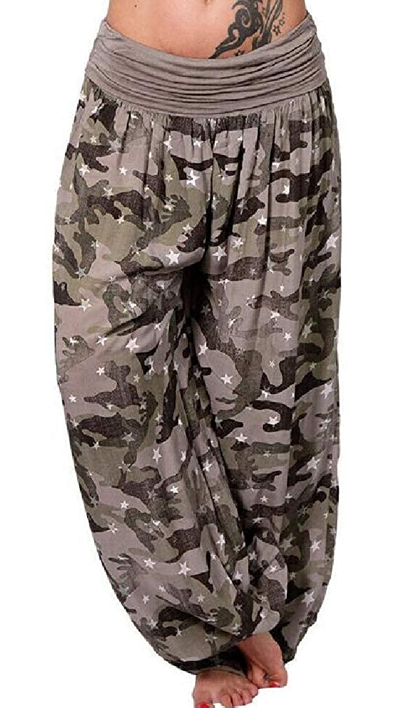 Cromoncent Womens Fold Over Wide Leg Print Star Yoga Pants Palazzo Pants