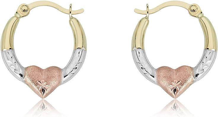 AVORA Gold Heart Creole Hoop Earrings - 10K 3-Tone or 14K/10K Yellow Gold