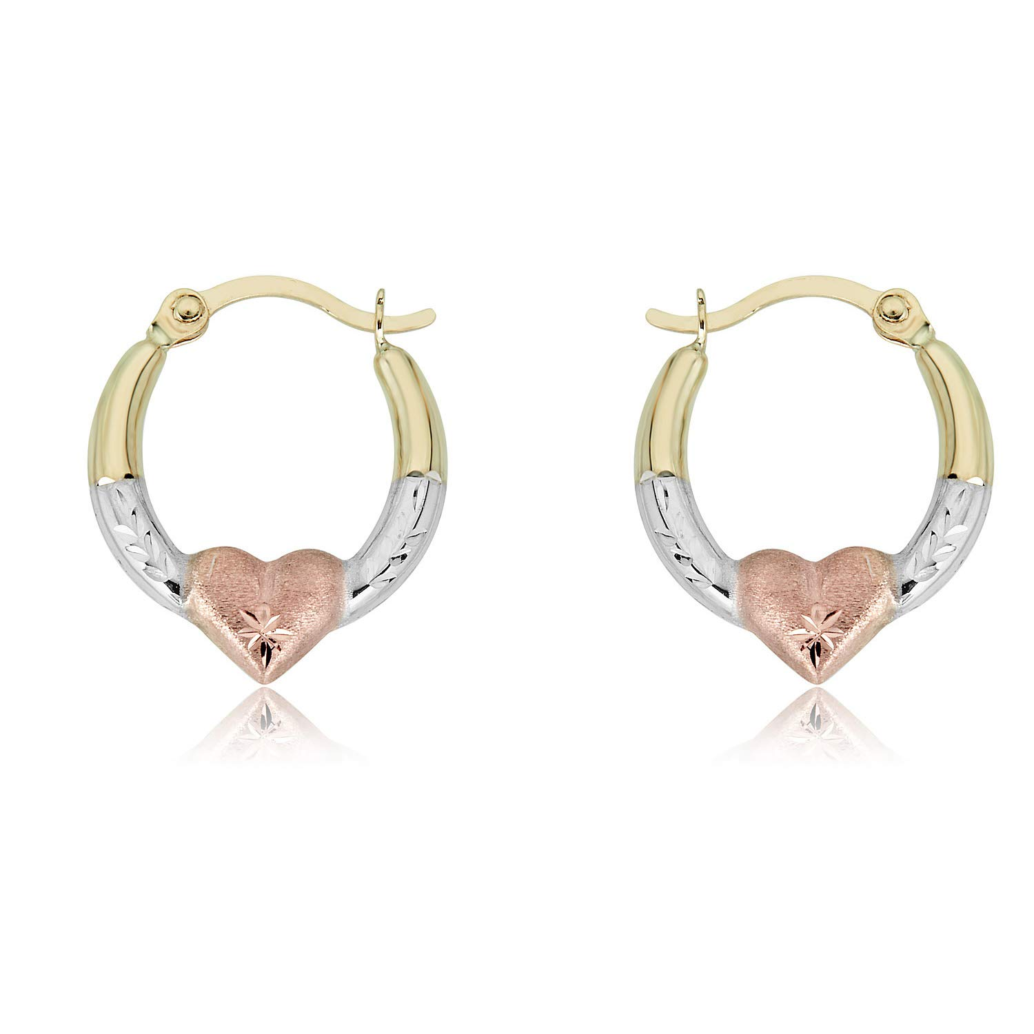 10K Gold Three-Tone Heart Creole Hoop Earrings by AVORA