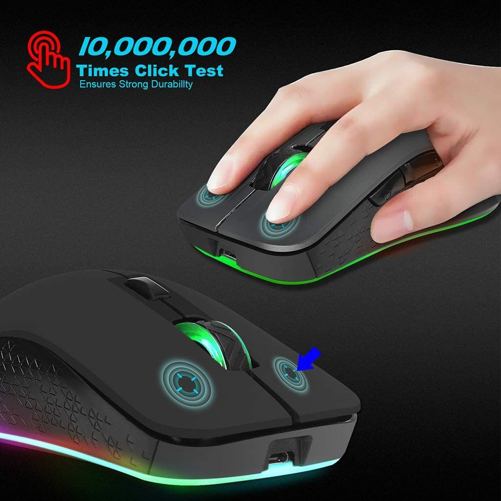 Color : B BGXXL Mouse Wireless Gaming Mouse 2400dpi Adjustable Colorful Light Mouse for Game Office use