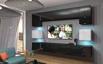 Home Direct NOWARA N1, Modernes Wohnzimmer, Wohnwände, Wohnschränke,  Schrankwand (Schwarz